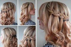 коса водопад на средние волосы