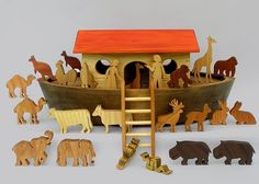 Wooden Noah's Ark with Animals Handmade Waldorf Toy for Children Boys and Girls Gift for Babtisms. $199.50, via Etsy.   SHOP> ArksAndAnimals