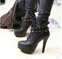 Women's New Fashion Punk Style Studded High Heels Ankle Boots | eBay