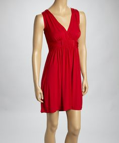Take a look at this Red Surplice Dress by Neesha on #zulily today!