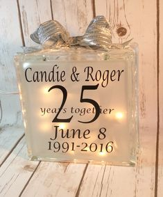 Anniversary lighted glass block, wedding table centerpiece, gift for 25th Wedding Anniversary, Year Anniversary Gifts, Anniversary Chalkboard, Anniversary Invitations, Anniversary Ideas, Glass Block Crafts, Lighted Glass Blocks, Craft Cabinet, Wedding Table Centerpieces