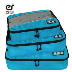 ECOSUSI New Travel Accessories Bag 3 Pcs/Set Packing Cubes Polyester Bags For Clothes Luggage Packing Organizers Bag // FREE Worldwide Shipping! //     #hashtag1