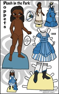A color printable paper doll of a ball-jointed doll with Victorian 1870s clothing and her own doll to dress. Peach is part of the Poppet series and can share clothing with the other dolls in that series.
