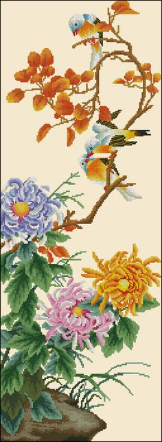 Chrysanthemum and birds - free cross-stitch pattern.This magnificent oriental motif is an excellent couple of yesterday's cross-stitch pattern