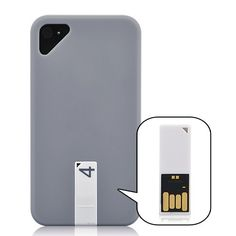 Matte  Smooth Hard Case Cover with 4GB USB Flash Drive For iPhone 4/4S - Grey