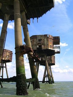... abandoned Maunsell Sea Forts, a few meters above the North Sea, Kent, England ... the British Royal Navy constructed a series of sea forts during World War II for an advanced line of defense against inbound air raids and potential sea invasions from the Axis powers