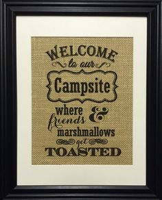 Personalized Welcome To Our Campsite Burlap Print Man by MilsoMade