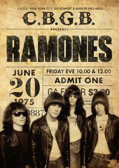 like the idea of the ticket stub with the performer / poster girl pasted over top Ramones, Retro Poster, Poster Art, Rock Posters, Vintage Concert Posters, Photo Deco, Rock Legends, Hard Rock, Rock Bands