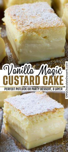 Easy Vanilla Magic Custard Cake is an easy dessert that could be perfect for a potluck or a party. One simple batter that turns into 3 different layers when baked. desserts for two Vanilla Magic Custard Cake Dessert Dips, Diy Dessert, Smores Dessert, Dessert Aux Fruits, Party Desserts, Mini Desserts, Just Desserts, Easy Delicious Desserts, Gourmet Desserts