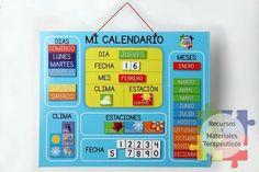 Nuestro calendario English Activities, Speech Activities, Back To School Activities, Toddler Activities, Teaching Spanish, Teaching English, Touch Math, Charts For Kids, Kids Calendar