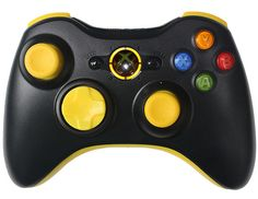 black and yellow xbox 360 controller