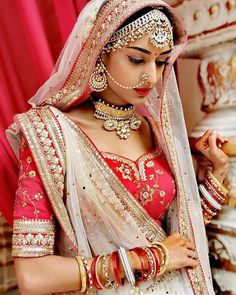 Indian Bride in Traditional Red Wedding Lehenga with white contrast net lehenga dupatta. Indian Tv Actress, Beautiful Indian Actress, Beautiful Bride, Dead Gorgeous, Simply Beautiful, Absolutely Stunning, Red Wedding Lehenga, Bridal Lehenga Choli, Lehenga Dupatta