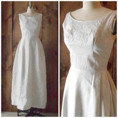 1950s sleeveless white silk ankle length by SchoolofVintage, $325.00