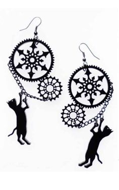 Cherry Loco Steampunk Cat Earrings  Beautiful Steampunk inspired earrings from Cherry Loco! These gorgeous black acrylic earrings feature two cogs, with an attached chain, and a dangling black cat. Perfe...