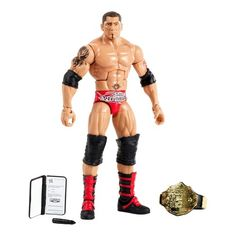 Capture the blowout action of WWE with this Hall of Champions Elite Collection figure celebrating WWE Title holders past and present! One of WWE's biggest personalities and champions, this bold and colorful figure comes ready to wreak havoc right out of the box. Figure has deluxe articulation, a detailed character expression, authentic ring attire and comes with his WWE Championship Title. Each sold separately, subject to availability. Colors and decorations may vary. For ages 8...