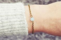 Bronze Chain Bracelet | Blue Jade Bracelet | Single Stone Bracelet | Gemstone Bracelet | Natural Healing Stone Bracelet Jade Bracelet, Stone Bracelet, Simple Bracelets, Handmade Bracelets, Healing Stones, Natural Healing, Swarovski Crystals, Bronze, Gemstones