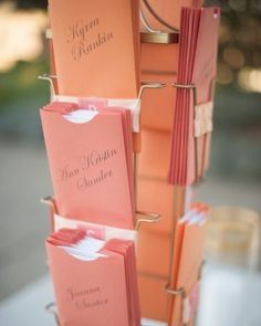 a colorful carousel of escort cards that doubled as menus