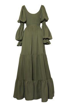 Pradera Tiered Ruffle Silk Dress by Andres Otalora Muslim Fashion, Modest Fashion, Hijab Fashion, Girl Fashion, Fashion Dresses, Fashion Design, Classy Outfits, Vintage Outfits, Silk Dress