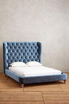 Velvet Tufted Wingback Bed - anthropologie.com
