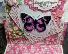 Handmade Butterfly Cavas Easel Card by LittleScrapShop on Etsy