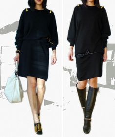 Givenchy sweater dress with golden bar details.