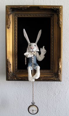 Friedericy Dolls & Figurative Art art dolls shadowboxes wall art Alice in Wonderland Alice In Wonderland Room, Wonderland Party, Shadow Box, Lapin Art, White Rabbits, Mad Hatter Tea, Clay Figures, Paper Clay, Art Dolls