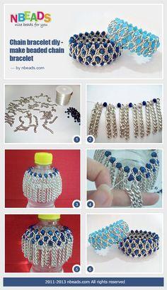 Tutorial DIY Bijoux et Accessoires Image Description chain bracelet diy - make beaded chain bracelet using a bottle. #Beading #Jewelry #Tutorials