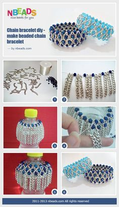 chain bracelet diy - make beaded chain bracelet using a bottle.  #Beading #Jewelry #Tutorials