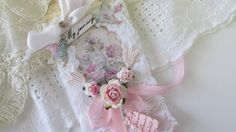 French Gift Tag Shabby Tag Mixed Media Tag by underthenightmoon, $7.50