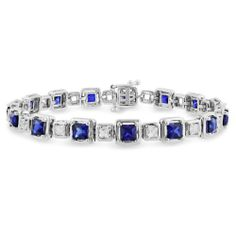 "Sterling Silver Created Sapphire Tennis Style Bracelet, 7"" Amazon Curated Collection. $105.00. Made in China. Save 48%!"