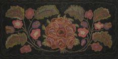 Rose Floral Hooked by Katie Hartner Rug Hooking Designs, Rug Hooking Patterns, Monks Cloth, Hand Hooked Rugs, Wool Art, Penny Rugs, Ceramic Teapots, Wool Applique, Cool Rugs