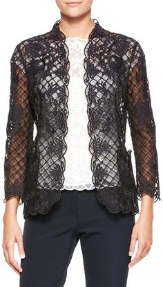 Escada Black Silk Lace Longsleeve Jacket Black
