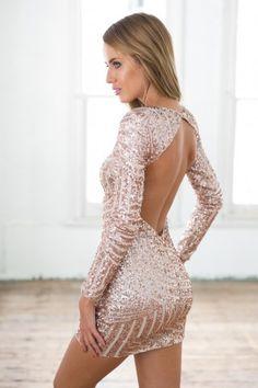 Rose Gold Sequin Long Sleeve Dress w/ Open Back | USTrendy