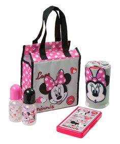 This Minnie Mouse Love Diaper Tote Gift Set by Minnie Mouse is perfect! #zulilyfinds