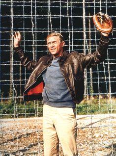 Steve McQueen - gray sweater, khakis