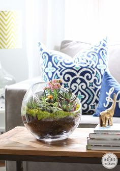 Here's a quick and easy tutorial for adding a little green to your decor. These Succulent Gardens are simple to make and look like a million bucks! Here's what you will need: large glass bowl succulents...