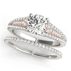 Transcendent Brilliance 14k Gold Cathedral Triple Row Diamond Bridal Set 1 1/10 TDW (Rose/White - Size 6), Women's, Pink