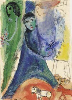 La Tour Eiffel et le peintre, Marc Chagall. (1887 - 1985)