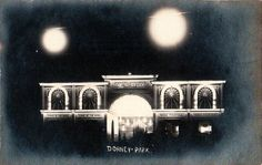 Night time view of the former Casino at Dorney Park. This building was originally located to the right of the hillside parking area. It contained different attractions like the Cave of the Winds, a soda fountain, and bowling alleys. It collapsed under the weight of a heavy snowfall in the mid 1920s.