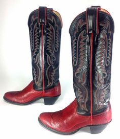 352157bbd Women s Justin Red Black Leather Boots Faux Snakeskin Western Cowboy US Sz 5