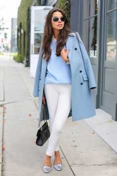 spring coat with blue top and white jeans