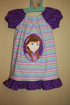 Precious Peasant Dress with Applique of Anna from by Luddiebug, $39.99