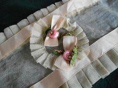 Antique Vintage Flapper Lady Art Deco Boudoir Lace Night Sleep Cap Hat Bonnet Baby Pink Silk Ribbon Rose Work Trim