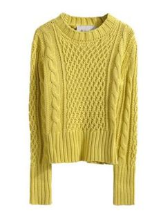 Retro Yellow Short Cable Knit Jumper   Choies