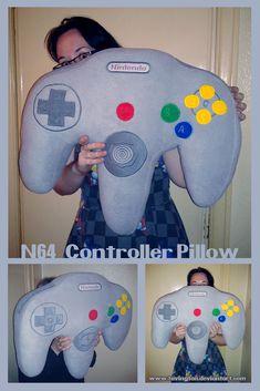 Giant N64 controller pillow