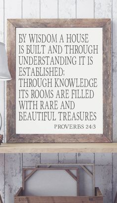 Items similar to Art Print Wall Decor By Wisdom a House is Built Art Print on Etsy Bible Verse Signs, Scripture Verses, Bible Scriptures, Bible Quotes, Family Bible Verses, Bible Verse Painting, Bible Verse Decor, House Blessing, Decoration