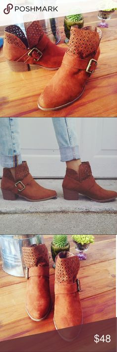 //The Aria// Chestnut buckle cutout booties Brand new Never been worn  Comes in original box No trades Many more sizes Available  Price is Firm!! Shoes Ankle Boots & Booties