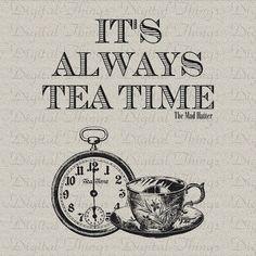 Alice im Wunderland-Hutmacher zitieren Tee Zeit Drucken digitaler Download für Stoff Aufbügeln Transfer Stoff Kissen Geschirrtuch DT1184