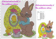 schema punto croce gratis pasqua con coniglio che dipinge le uova