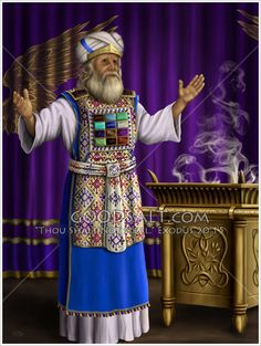 The High priest alone was to perform the sacred duty of placing incense before the Lord on the golden altar, or altar if incense. The High Priest wore holy garments that were made under specific directions from the Lord. Priestly Garments, Tabernacle Of Moses, Priest Costume, Ellen G White, Biblical Costumes, Feasts Of The Lord, Arte Judaica, Bible Photos, Revelation Bible